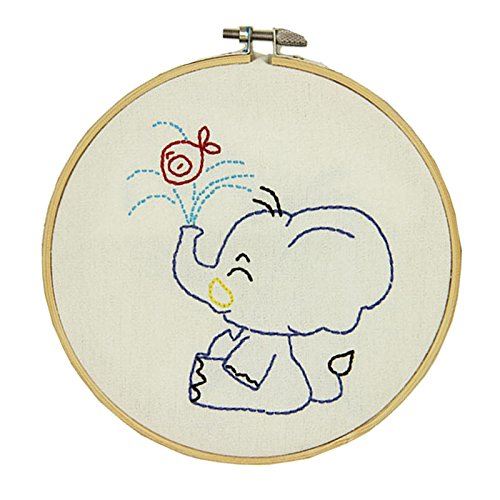 Embroidery Kit for Beginners, Gift Set, Elephant Design (No Frame)