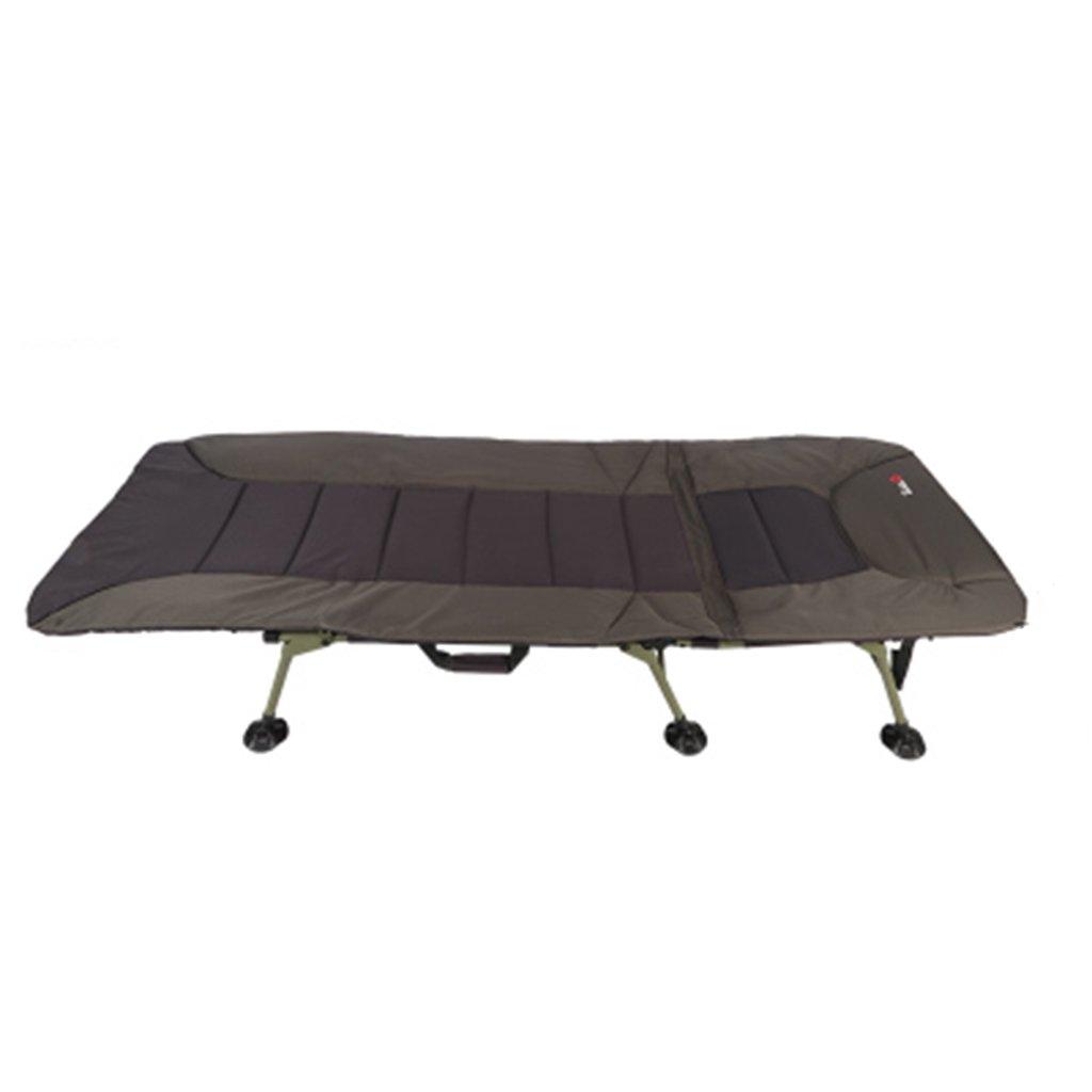 Ren Chang Jia Shi Pin Firm Feldbetten Klappbett Einzelbett Büro Siesta Bett einfaches Tuch Bett Camping Bett begleitendes Bett (Farbe : Braun, Größe : 2058145 cm)