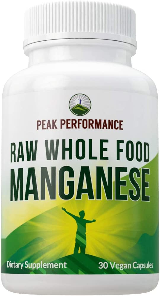 Raw Whole Food Manganese Supplement - Pure Trace Mineral Capsules for Connective Tissue, Bone Health and Enzyme Support. Blended with 25+ Organic Vegetables and Fruits. Superior Absorption. 30 Pills: Health & Personal Care