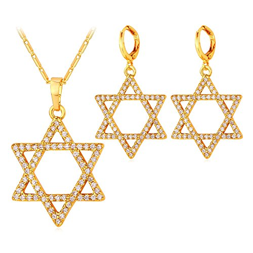 (U7 Tantrism Sign Jewelry AAA Cubic Zirconia Jewelry Set 18K Gold Plated Link Chain Crystal Star of David Necklace and Earrings)