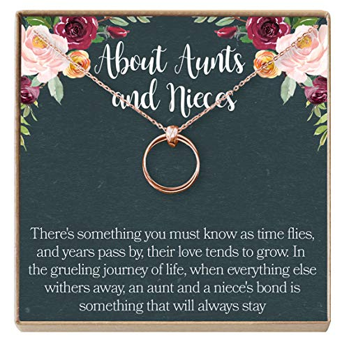 Dear Ava Aunt-Niece Necklace: Aunt-Niece Gift, Aunt-Niece Jewelry, Aunt-Niece Quotes, Aunt Necklace, 2 Linked Circles (Rose-Gold-Plated-Brass, NA)
