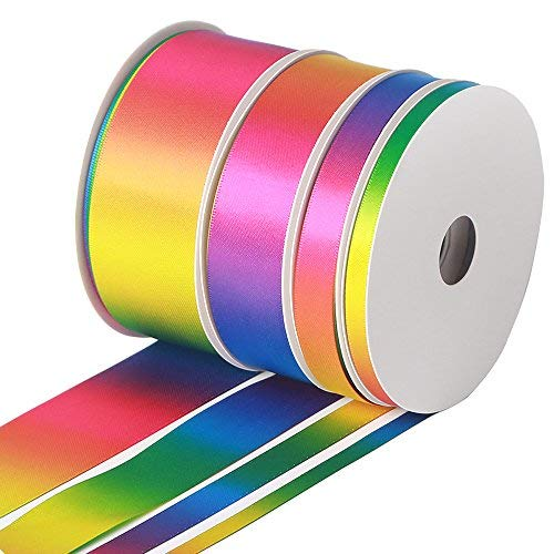 Colorful Satin Ribbons Gradient Rainbow Double face 80yd Total for Festival Wedding Party Birthday Bridal Decoration, Summer Rainbow Assorted Sizes (Width 1/4
