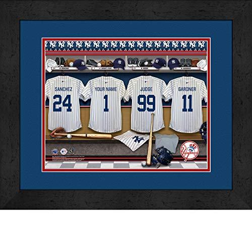 York Yankees Personalized MLB Baseball Locker Room Jersey Framed Print 14x18 Inches
