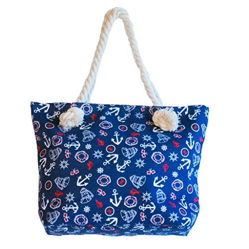 [Corona Collection Anchors Nautical Theme Tote Navy] (Life Preserver Sailor Purse)