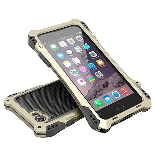 iPhone 6 Case?Kinglc R-just Waterproof Shock Proof Dirt Proof Gorilla Glass Aluminum Rubber Black Metal Case Cover Protective Armor Defender for iPhone 6 4.7 Inch Gold/Black