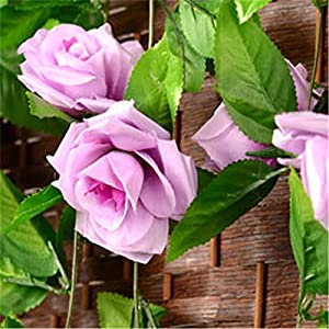 FYYDNZA 250Cm False Silk Roses Ivy Artificial Flowers With Green Leaves For Home Wedding Decoration Hanging Garland,Light Purple 29