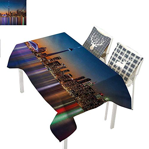 WilliamsDecor Landscape Table Cloths Spill Proof Urban Theme A Cityscape View of Toronto and The Skyscrapers at Dusk Digital PrintDark Blue Rectangle Tablecloth W60 xL102 inch