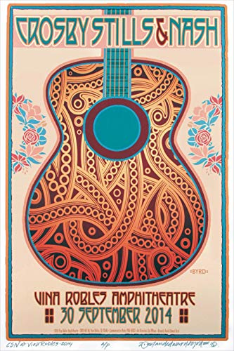 (Crosby Stills Nash & Young 2014 Concert Poster Rock Band 13x19 Classic Vintage Old Music)