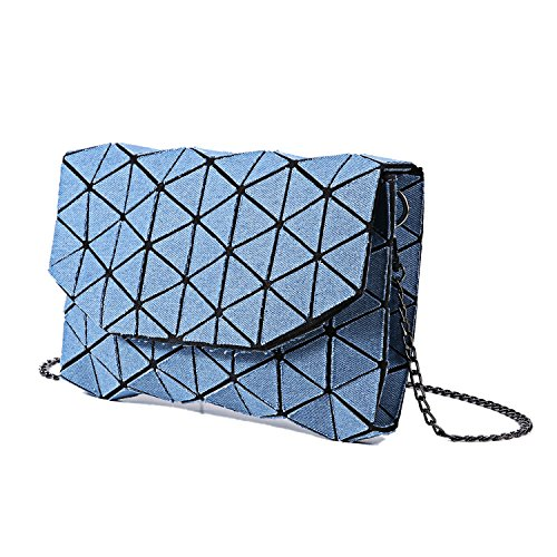Clutch Canvas Geometric Shard Shoulder Blue Handbag Bag Lattice Denim Bag SvOqqg