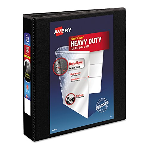 """Avery Heavy-Duty Nonstick View Binder, 1-1/2"""" One Touch Slant Rings, 375-Sheet Capacity, DuraHinge, Black (05400)"""
