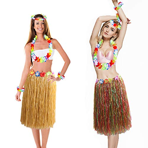(2 Set Hawaii Hula Grass Skirt Luau Grass Flower Leis Costume Set Party Dancer Skirt with Bracelets, Headband, Necklace for Luau Party Supplies(60 cm Length,Festucine Color, Mixed)