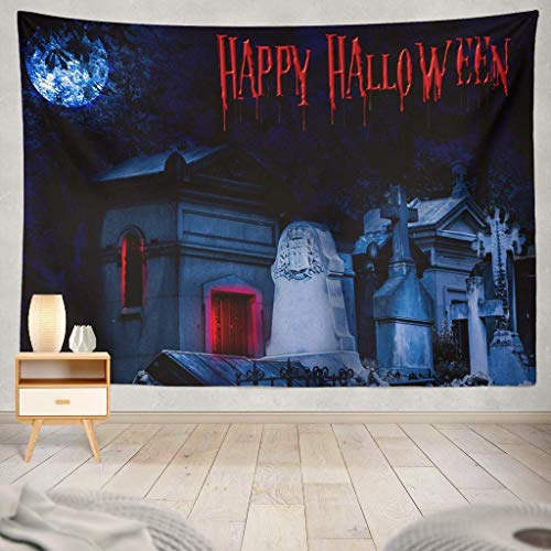 Sandayun88x Halloween Happy Font Scary October Banner Bats Boo Calligraphy Celebration Creative Dark Elegant EyesDecorative Tapestry,60X80 Inches Wall Hanging Tapestry for Bedroom Living -