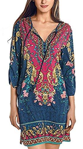women-bohemian-neck-tie-vintage-printed-ethnic-style-summer-shift-dress-xl-pattern-3