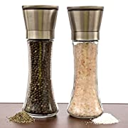 Amazon Lightning Deal 96% claimed: Salt And Pepper Grinder Set – A Dual Set Of Combo Grinders For Salt & Pepper Made Of Thick Glass Combined With Stainless Steel Top – Salt & Pepper Mill Pair , Salt And Pepper Shakers