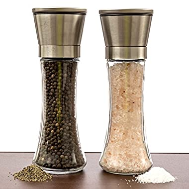 Salt And Pepper Grinder Set – A Dual Set Of Combo Grinders For Salt & Pepper Made Of Thick Glass Combined With Stainless Steel Top – Salt & Pepper Mill Pair , Salt And Pepper Shakers