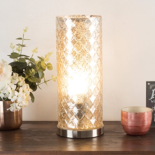 Lavish Home 72-Uplt-2 Table Lamp with Silver Mercury Finish, Embossed Trellis Pattern and Included LED Light Bulb for Home Uplighting