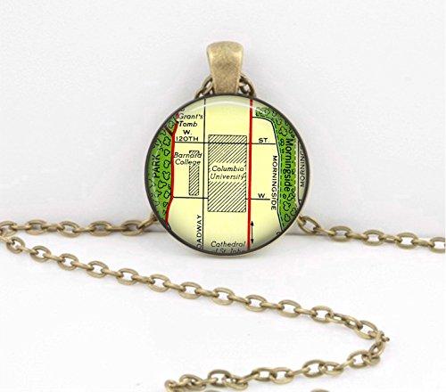 Columbia University New York New Grad Alumni Map Pendant Gift Vintage Map pendant necklace key ring travel gift jewelry