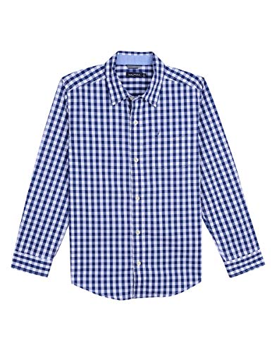 - Nautica Toddler Boys' Long Sleeve Gingham Woven Shirt, Mason Tanzanite, 2T