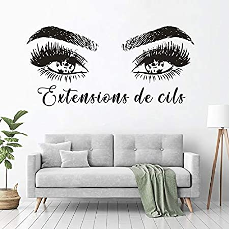 French Pattern Beauty Salon Decoration Extensions De Cils Sign Vinyl Decals Magic Lashes Eyelash Window Stickers Vinyl Art 88 42cm Amazon Co Uk Kitchen Home
