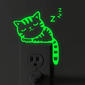 FGHHT Pegatinas Luminosas Lovely Sleep Cat Switch Sticker Glow in The Dark Sala de Estar Divertida Pegatina Fluorescente póster