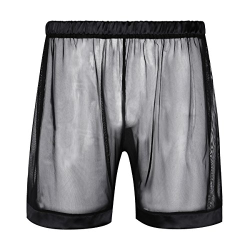 CHICTRY Men's See-Through Mesh Loose Lounge Boxer Shorts Black - Mens Sheer Shorts