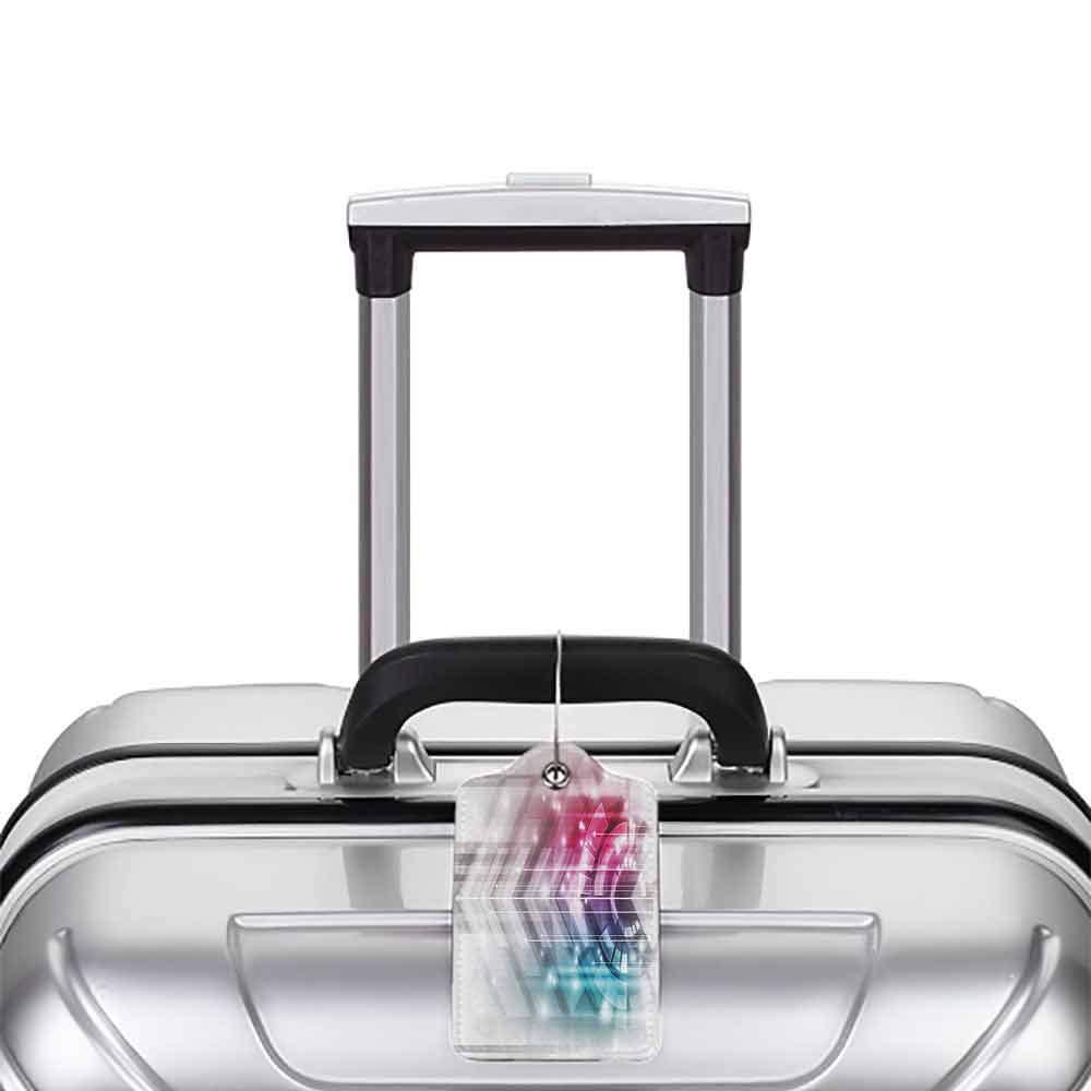 Flexible luggage tag Modern Decor Technologic Futuristic Geometrical Shapes and Squares Print Fashion match Hot Pink Light Blue and Grey W2.7 x L4.6