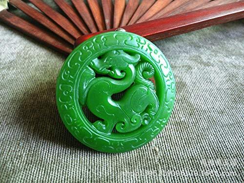 Zhiming 50mm50mm7mm Natural and Hetian a Cargo Jasper Antique Dragon Jade Pendant Unisex Jade Pendant ()