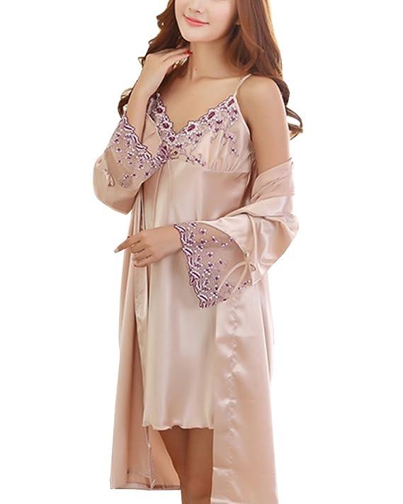 38ebd2a731829b Cheerlife Damen Seide Morgenmantel Nachtkleid mit Spitze Negligee  Nachtwäsche Zweiteilig Schlafanzug: Amazon.de: Bekleidung