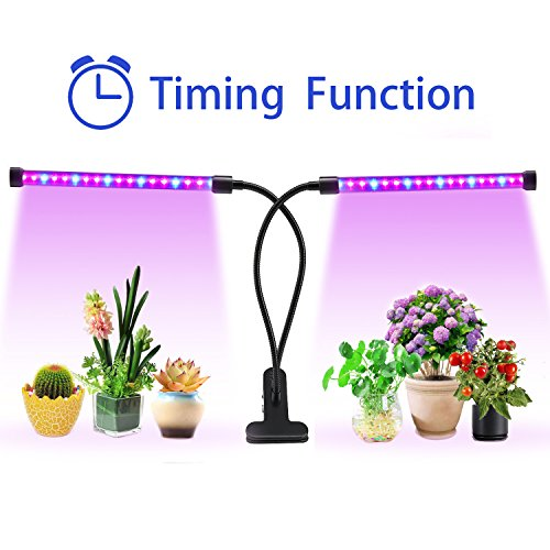 Lovebay Timing Function Dual Head Grow Light 36LED 5 Dimmable Levels Grow Lamp Bulbs with Adjustable 360 Degree Gooseneck for Indoor Plants Hydroponics Greenhouse Gardening 2019 Upgraded