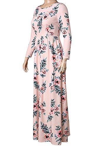 Da Stampa Floreale Minetom Donna Lunga Vestito Girocollo Boho Elegante Maxi Rosa Manica Casual Abito Lungo Sera Beach Fg6Hx4F