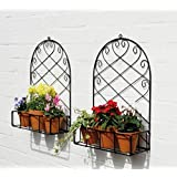 Nutech Impex Iron Wall Bracket, Stand for Plants, Balcony, Garden, Home Decoration of Rack (Set of 2)