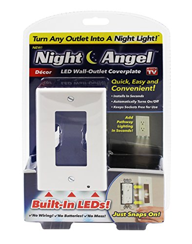 Night Angel Lighted Wall Outlet Coverplate with Automatic Light Sensor and Built-In LED Guidelights for Square Outlets - - Outlets Square