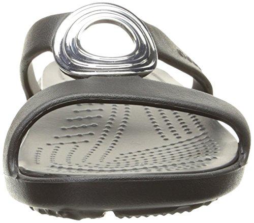 crocs Women's Sanrah Beveled Circle Sandal, Black/Black, 9 M US