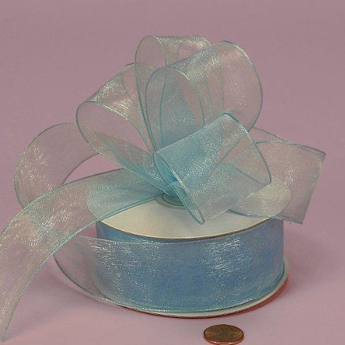Light Blue Sheer Organza Wired Ribbon, 1-1/2