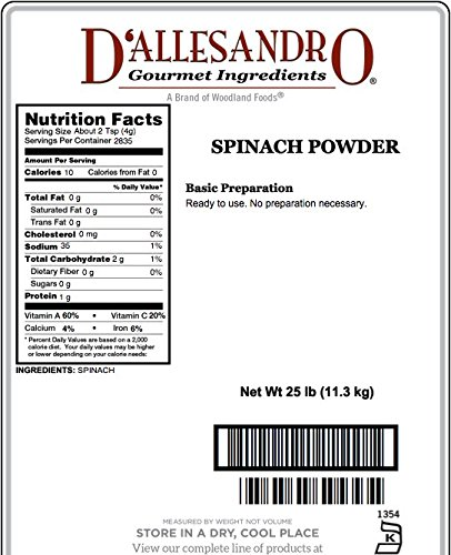 Spinach Powder, 25 Lb Bag by Woodland Ingredients