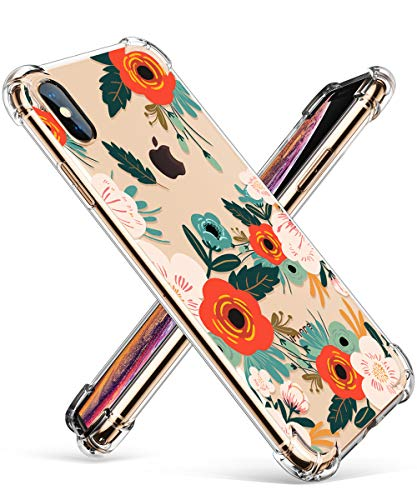 GVIEWIN Compatible for iPhone Xs/X Case, Clear Flower Pattern Design Soft & Flexible TPU Ultra-Thin Shockproof Transparent Floral Cover, Cases iPhone X/iPhone 10 (Flowering/Reseda Green) ()