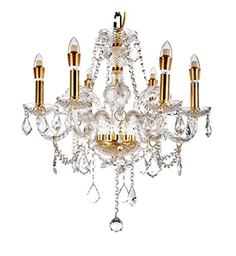 "Diamond Life 6-Light Classic Style Gold Finish Crystal Chandelier Pendant Hanging Ceiling Lighting, 22"" Wide"