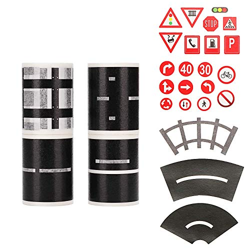 Molshine 4rolls(16.4FT/Roll) and 23 Train Track Highway Sign Stickers,Road Tape Sets,Train Track Tape,for Children's Educational Toys, Game DIY, Cultivate Children's Imagination and Hands-On Ability