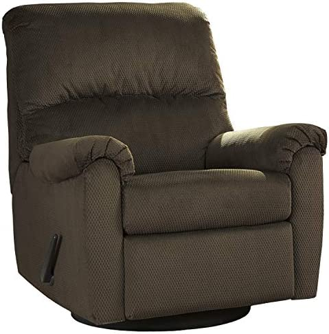 Flash Furniture Signature Design by Ashley Bronwyn Swivel Glider Recliner in Cocoa Fabric