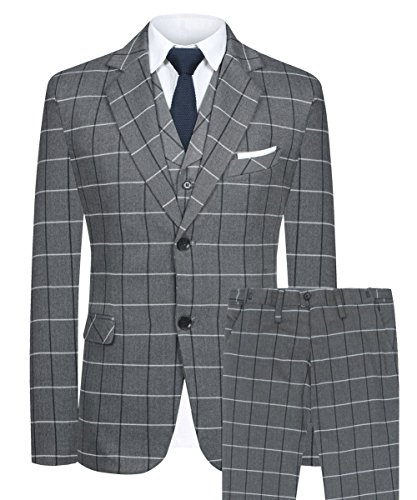 - Hanayome Men's Blazer British Style 3PC New 2017 Grey Suit & Pants Vests Set(Grey, 50)