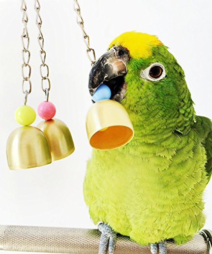 loveone Bird Toy Bell, Parrot Cage Toys for Parrots, African Greys, Mini Macaws, Small Cockatoos, Cockatiels, Scarlet Macaw, Nautiloids