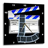 3dRose Blue and White Movie Clapboard - Wall Clock, 15 by 15-Inch (dpp_101294_3)