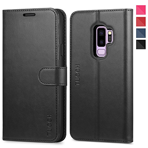 Galaxy S9 Plus Case, TUCCH S9 Plus Wallet Case, PU Leather Phone Case [Card Slot] [Flip] [Stand] Carry-All Case [TPU Interior Protective Case] [Magnetic Closure] for Galaxy S9 Plus, Black