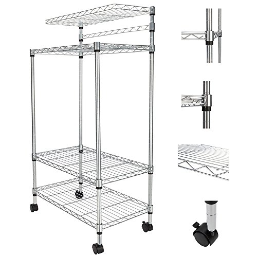 Cu ALightUp 4-Tier Baker's Rack | Microwave Stand | Kitchen Storage Shelving | Adjustable Wire Stand with 4 Rolling Wheels 24 x 14 x 47 Inches L x W x H by Cu ALightUp