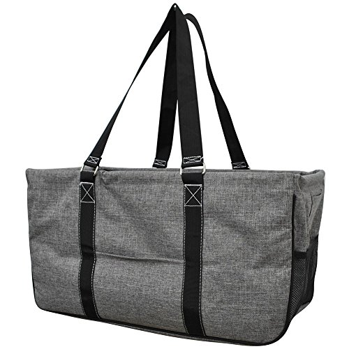 Gray Crosshatch Solid Print NGIL Utility Tote Shopping Bag