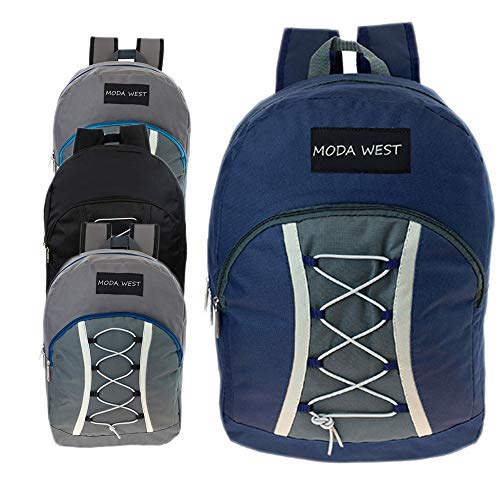 17 Inch Wholesale Bungee Backpacks in 3 Assorted Colors with Blackout Backpack - Bulk Case of 24 Bookbags