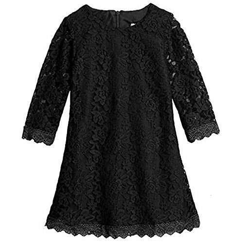 Lace Flower Girl Dress Black Elegant Bridesmaid Dress Wedding Party Fall Holiday Pageant Girl Dress Formal Ball Gowns Long Sleeve Knee Length Christmas Easter Flower(Black190)]()