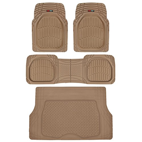 4pc Beige Car Floor Mats Set Rubber Tortoise Liners w/ Cargo for Auto SUV Trucks (Car Mats Liners compare prices)