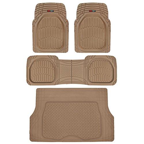 4pc Beige Car Floor Mats Set Rubber Tortoise Liners w/ Cargo for Auto SUV Trucks Beige Jeep Floor Mat