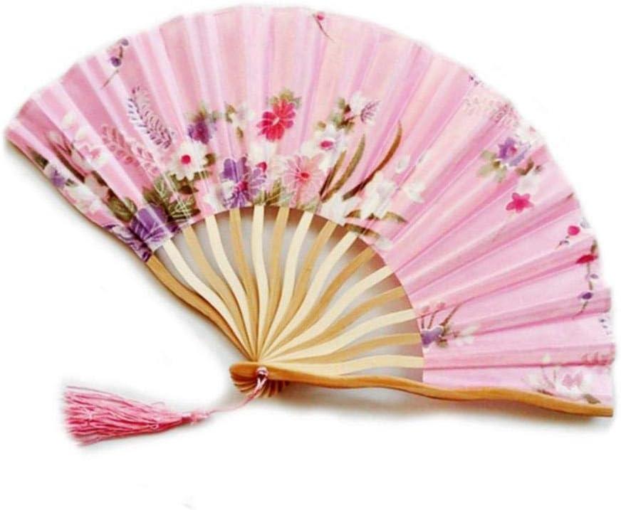 BHG BambooFlower Hand Fan Folding Pocket Fan Wedding Party Decoration Mariage Gift Favors,J L